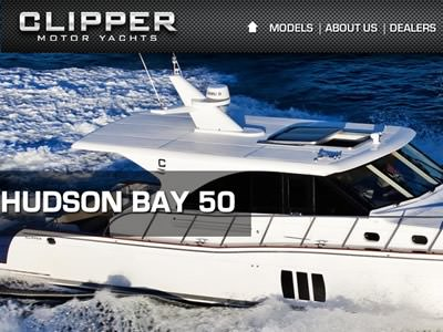 Screenshot of the Clipper Motor Yachts home page