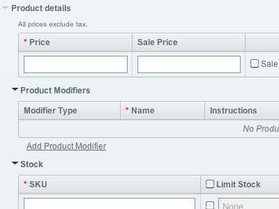 Screenshot of a product publish field in an ExpressionEngine control panel