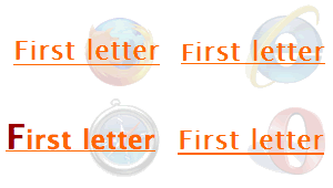 Screenshots of a heading containing an inline element with a larger first-letter when hovered over in Firefox, IE, Safari and Opera