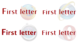 Screenshots of a heading containing an inline element with a larger first-letter in Firefox, IE, Safari and Opera