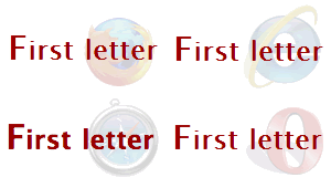 Screenshots of a heading with a larger first-letter in Firefox, IE, Safari and Opera