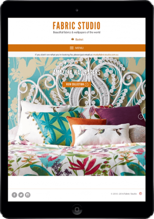 The Fabric Studio website on an iPad