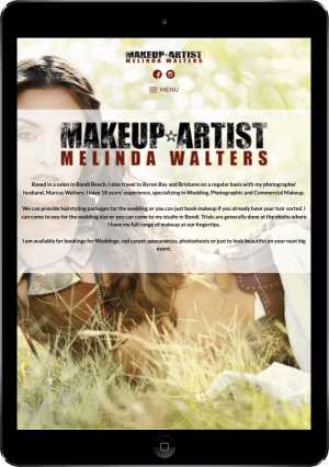 The Melinda Makeup website on an iPad