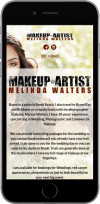 The Melinda Makeup website on an iPhone