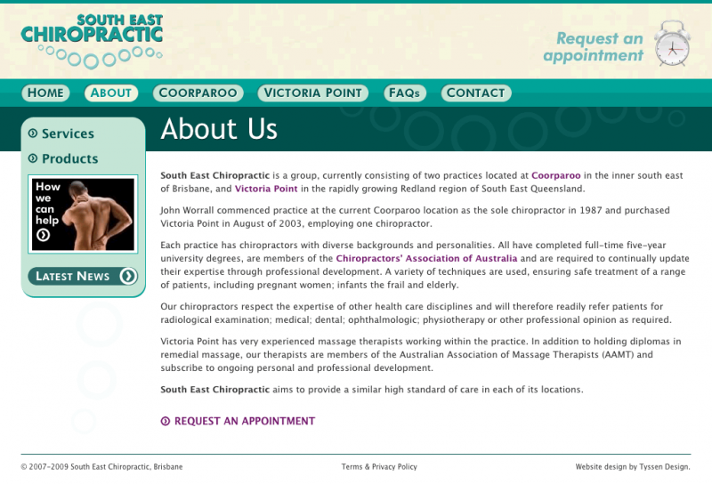 South East Chiropractic website screenshot