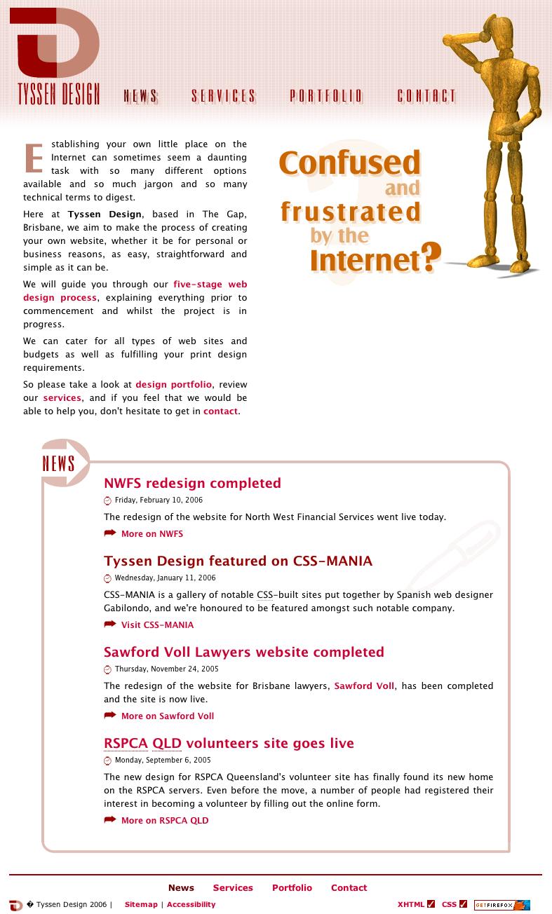 Screenshot of version 1 of the Tyssen Design website